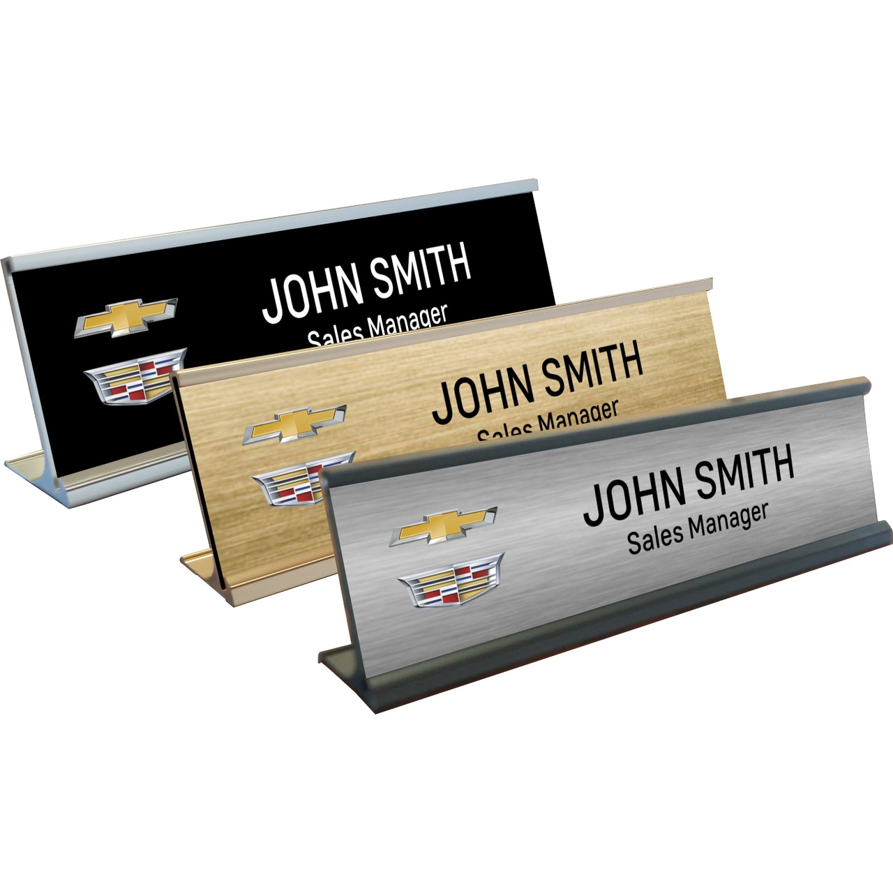 Chevrolet Cadillac Name Plates with Aluminum Desk Holder ...