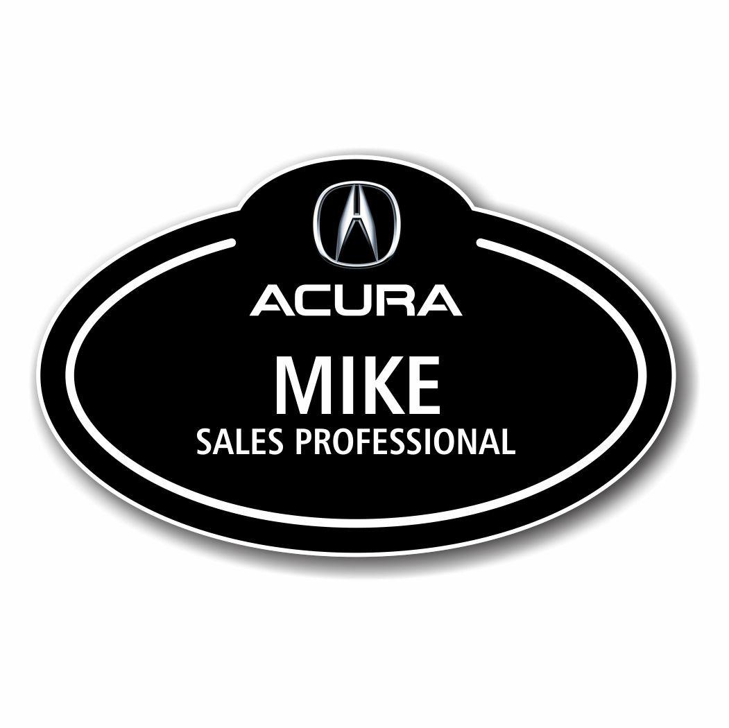 Acura Black Bubble Top Name Badge - Acura badge