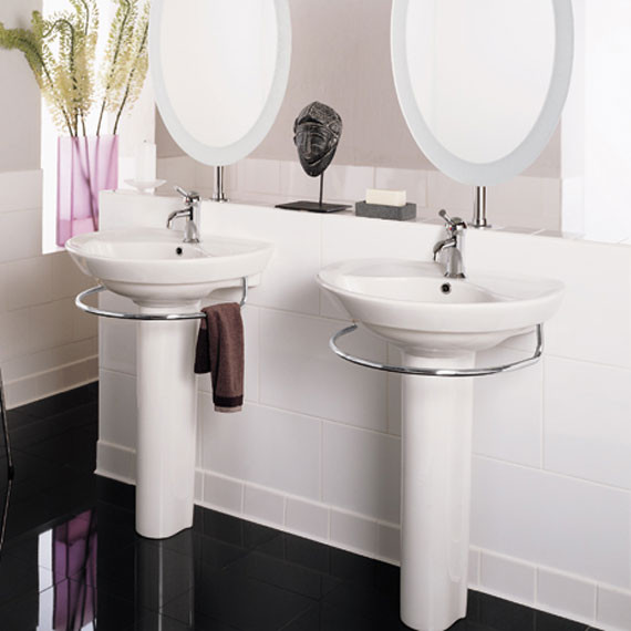 American Standard Ravenna 24 Inch Pedestal Lavatory Sink With Towel Bar In White 08ams 0268802