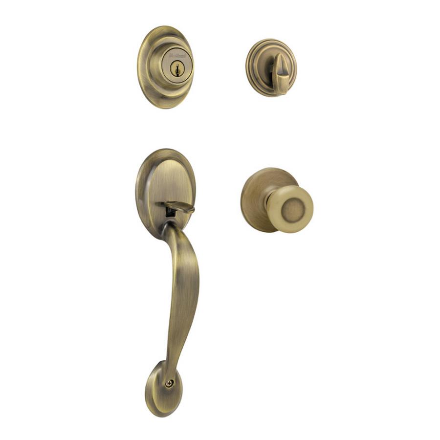 Kwikset 96870 025 Antique Brass Dakota Entry Handlesets 04kw 96870 25