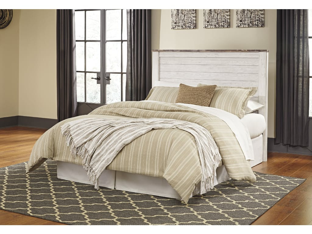 ashley willowton queen upholstered panel bedframe in white wash