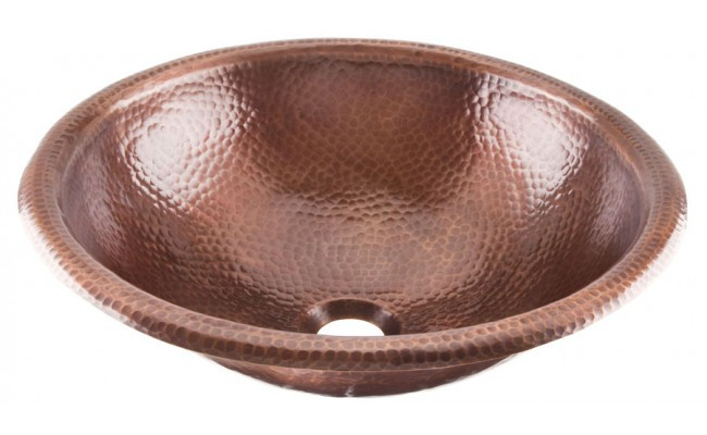 ... Bathroom Handcrafted Medium Antique Copper Vessel SInk 08THO-2RP-AC