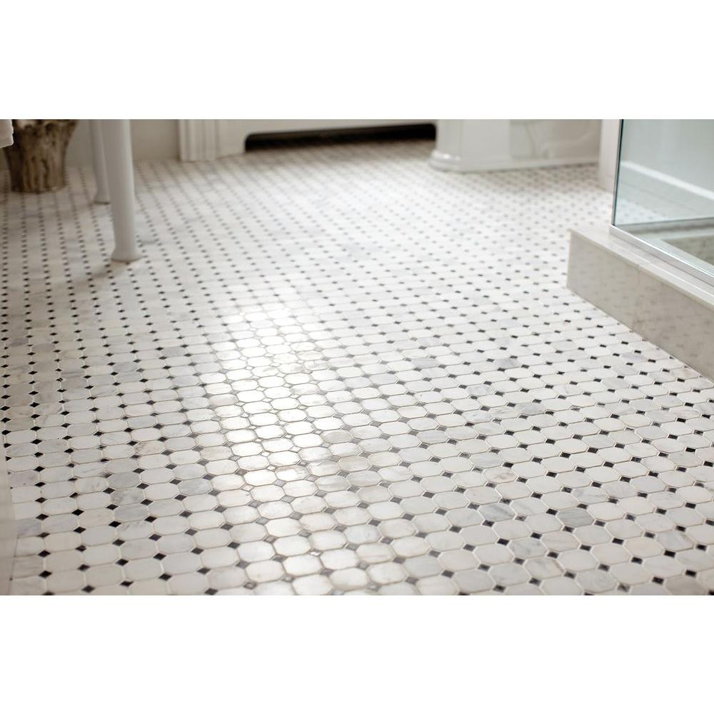 Greecian White Octagon And Glossy Black Dot Mosaic Tile 12 X 12