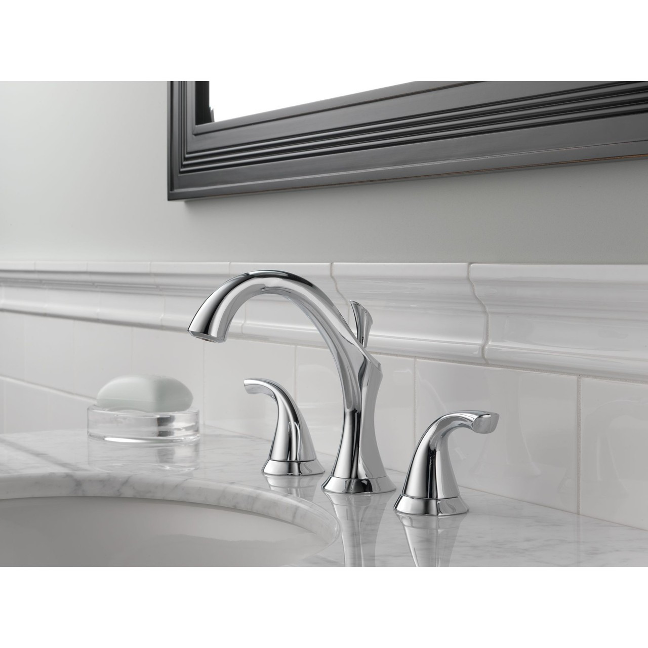 Delta addison two handle widespread lavatory faucet in chrome 09d 3592lf 09d 3592lf for Delta widespread bathroom faucet