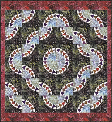 Goose Garden Quilt with Anthology Cosmos in the Garden Batiks