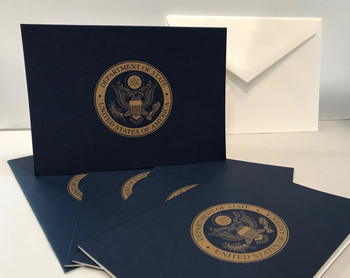 Navy Note Cards w/ DOS Gold imprinted (set of 5)
