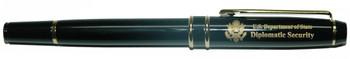 Rollerball Pen w/ Custom Velvet Presentation Box - Diplomatic Security Logo