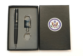 PEN AND VALET KEY CHAIN GIFT SET GIFT SET INCLUDES: Metal ballpoint Laser Engraving PK-30 Valet key chain  Gift box with EVA tray