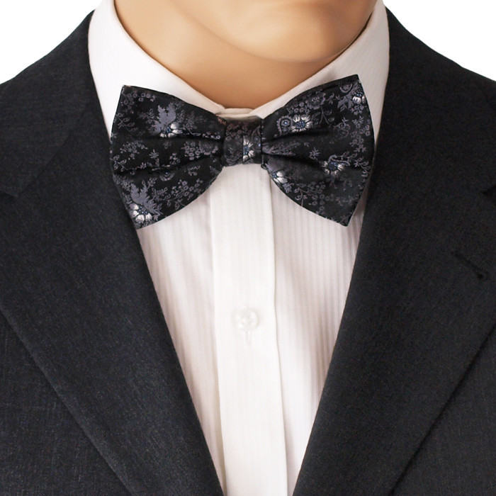 Black Flower Bow With Diamond: Bow Tie