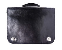 Black Italian Leather Briefcase
