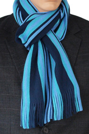 Knitted Scarf Aqua And Navy