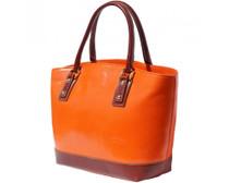 Orange Leather Tote Bag
