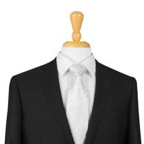 Silver Striped Silk Tie