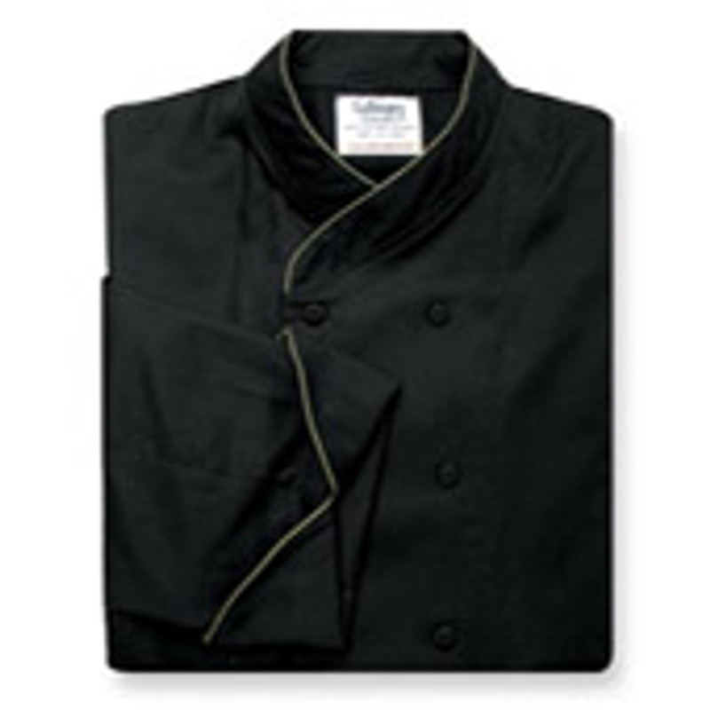 Women's Imperial Chef Coat in Black Cotton Twill with OD Green Cording
