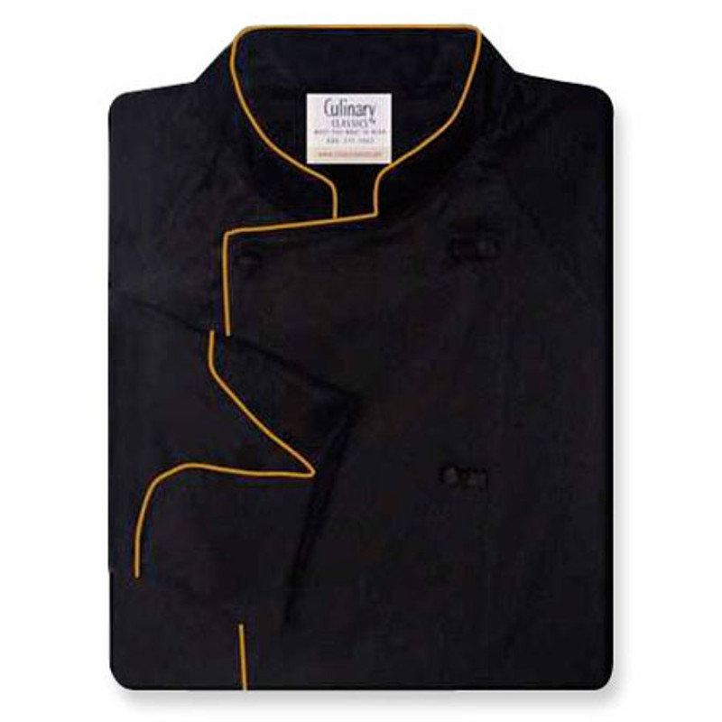Raglan Chef Coat in Black Egyptian Cotton with Antique Cording