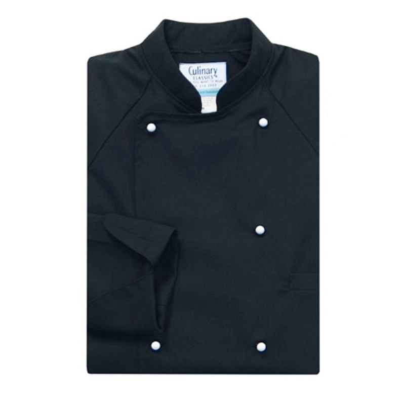 Raglan Chef Coat in Black Spun Poly with White Stud Buttons