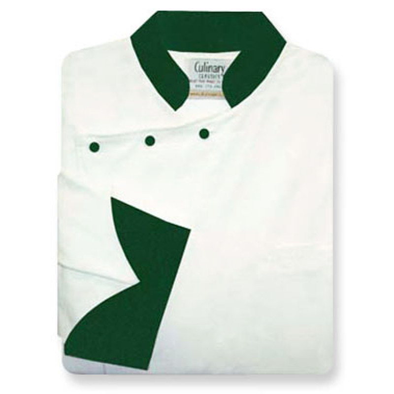 Bordeaux Chef Coat in White Organic Cotton with Kelly Green Accents