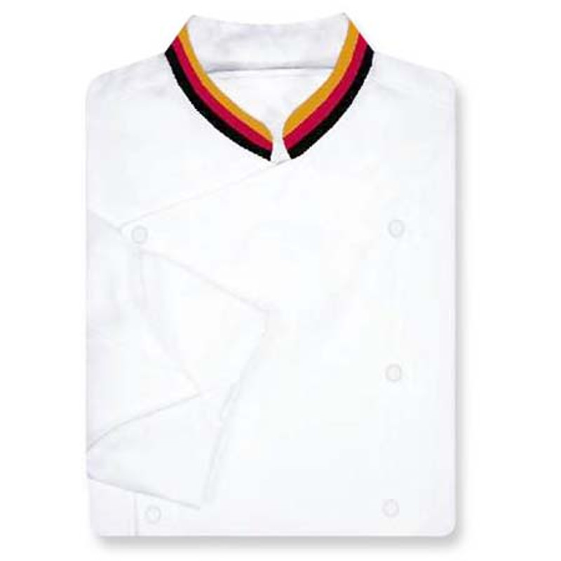 Venetian Chef Coat in White Fineline with Tri-Split Collar