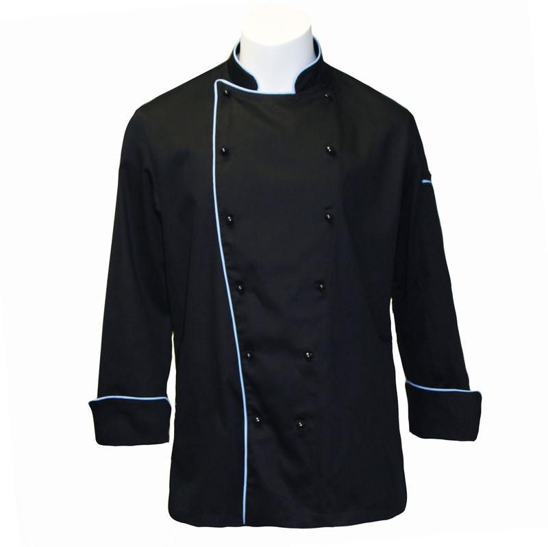 Traditional Chef Coat in Black 100% Cotton Twill with Cloud Blue Cording