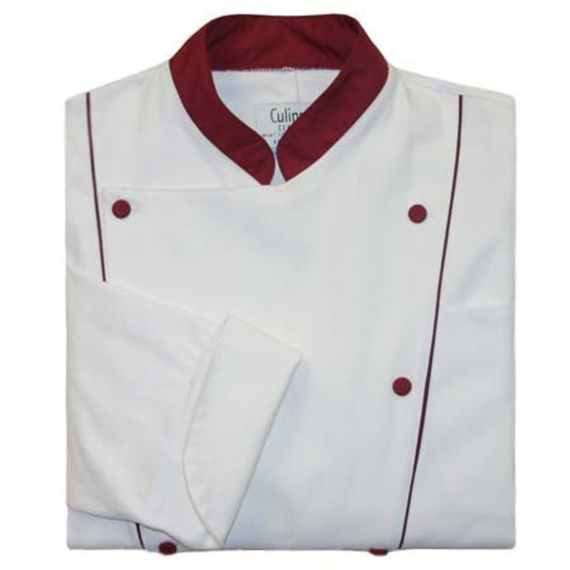 Corded Chef Coat in White Cotton Twill with Burgundy Accents