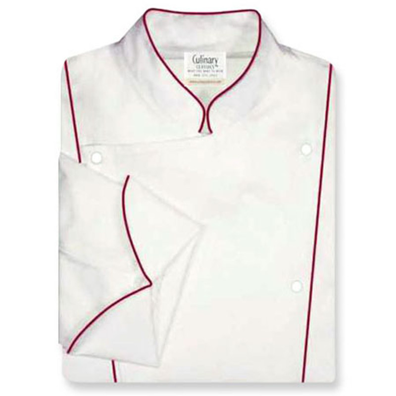 Corded Chef Coat in White Organic Cotton with Ruby Cording