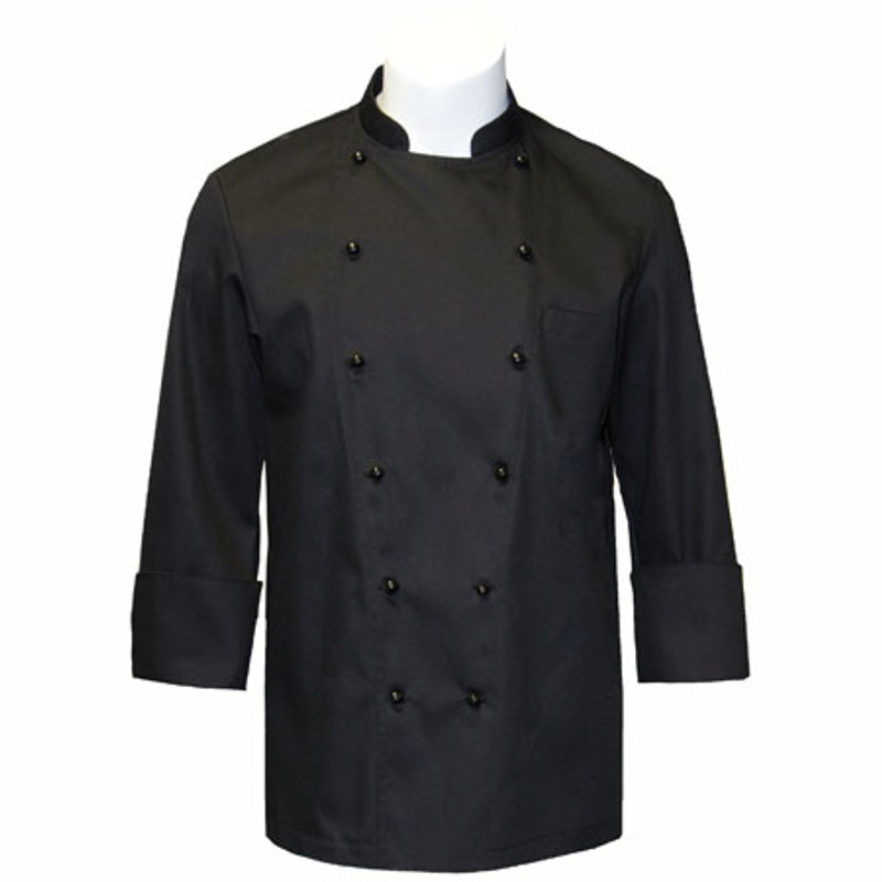 Traditional Chef Coat in Black Fineline Twill with Black Stud Buttons