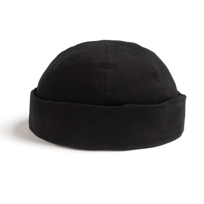 Skull Cap in 100% Black Cotton Twill