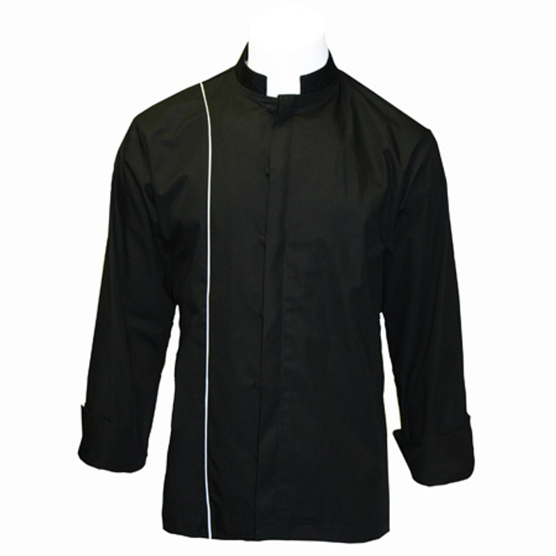 Vanguard Chef Coat in Black Poplin with White Cording