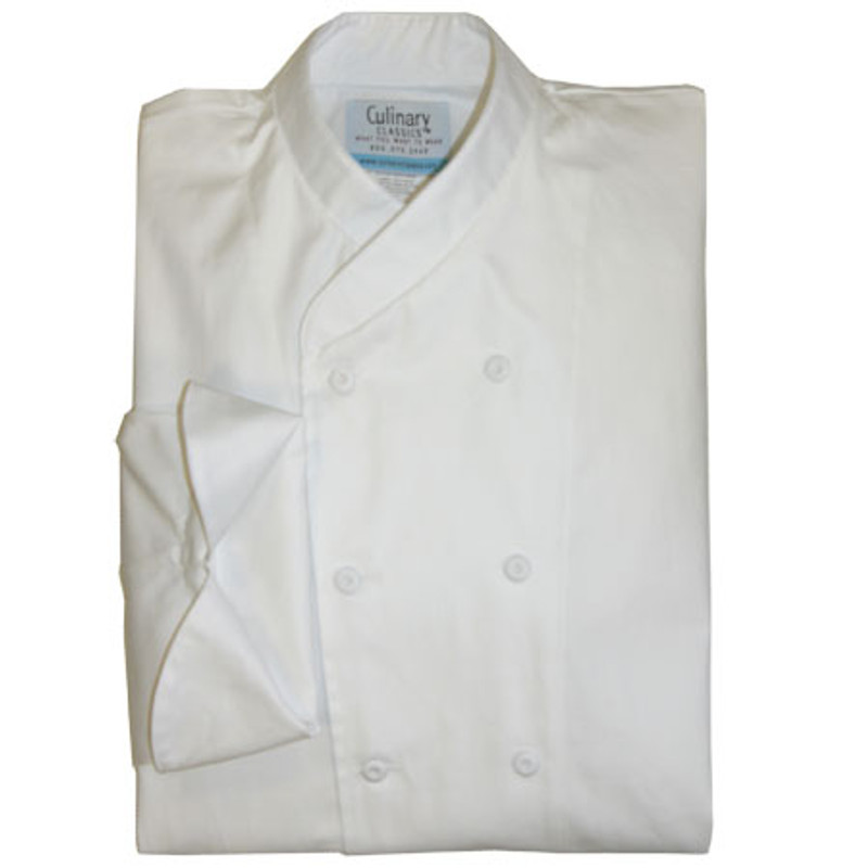 Imperial Chef Coat in White Egyptian Cotton with Hand-Crafted Buttons