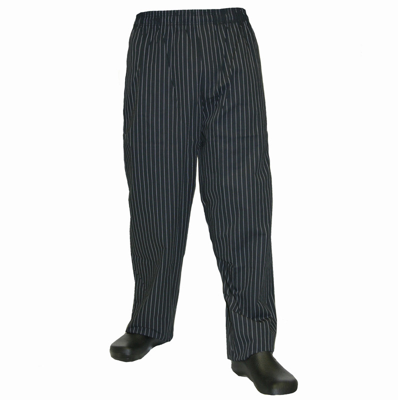 Baggy Chef Pants in Black & White Pinstripe