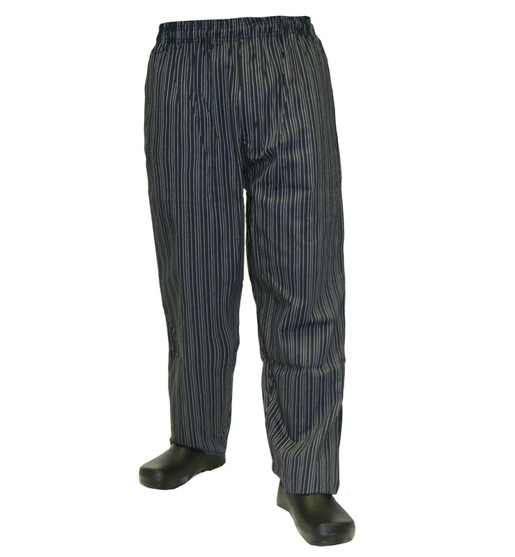 Baggy Chef Pants in White Tribal Stripe