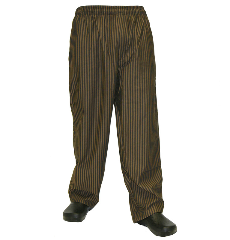 Baggy Chef Pants in Copper & Black Stripe