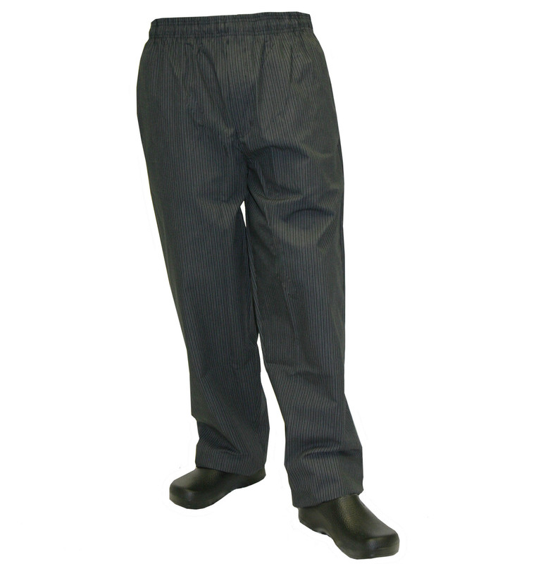 Baggy Chef Pants in Grey Triple Stripe