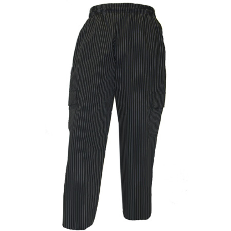 Cargo Chef Pants in Chocolate or Black Pinstripe
