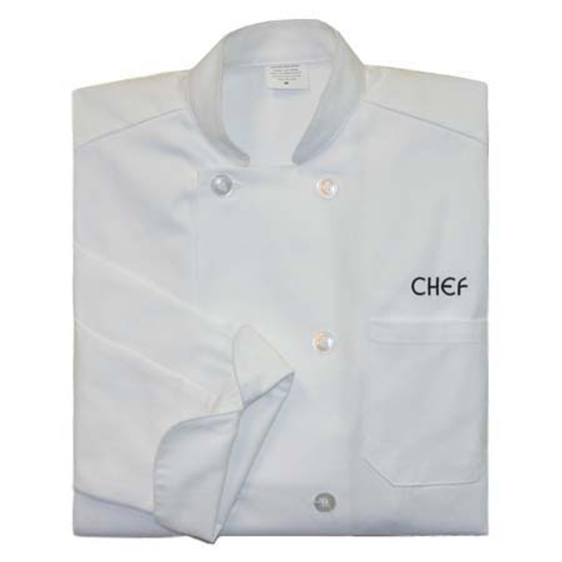 Classic Chef Coat in White with CHEF embroidery
