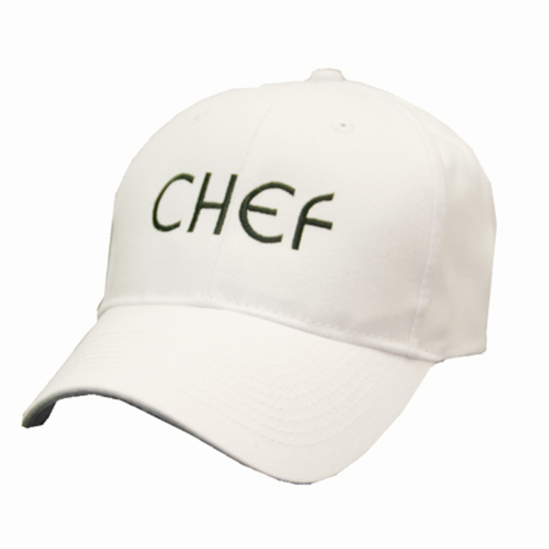 Baseball Cap in White with matching fabric closure and CHEF embroidery