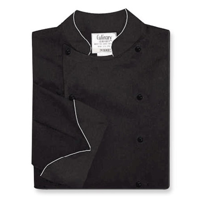 Traditional Chef Coat in Black 100% Egyptian Cotton with White Cording