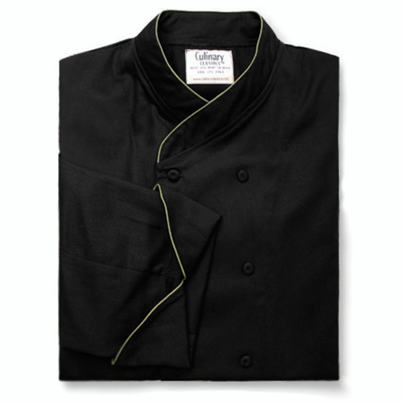 Imperial Chef Coat in Black Cotton Twill with OD Green Cording