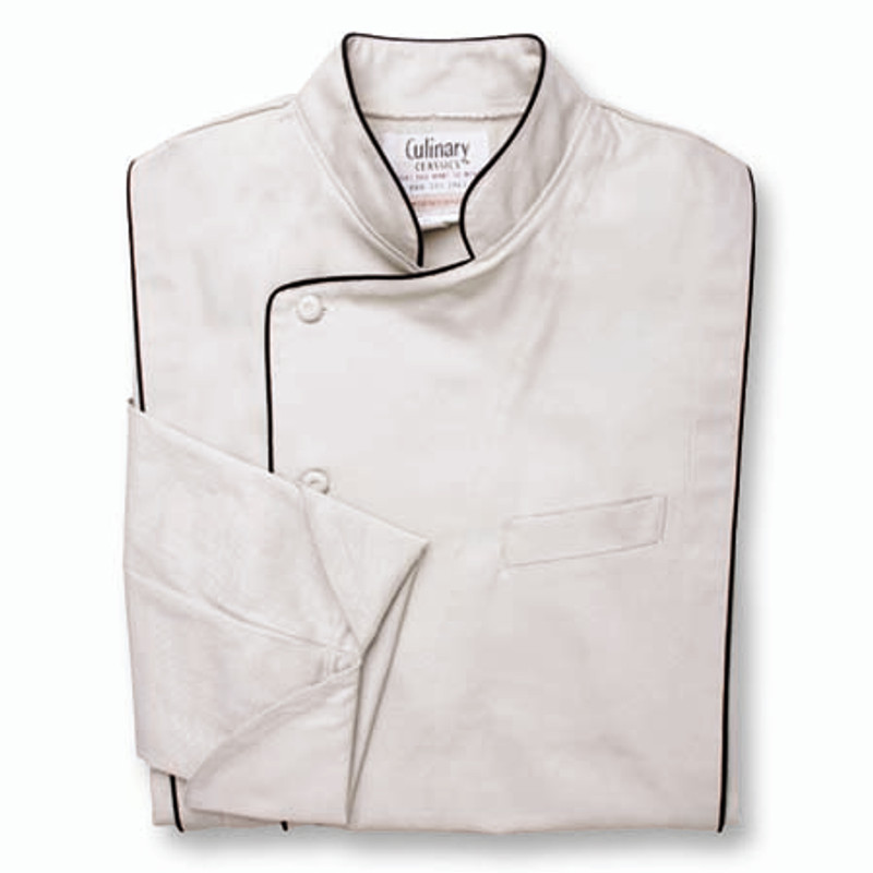 Milan Chef Coat in Stone Twill with Black Cording