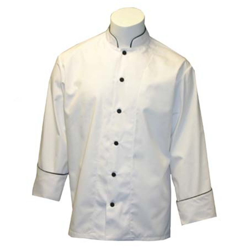 Mandarin Chef Coat in White with Black Accents