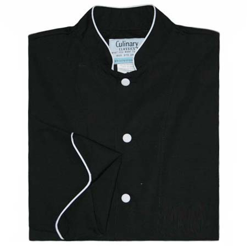 Mandarin Chef Coat in Black with White Accents