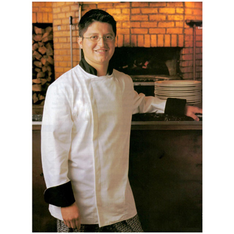 Epicurean Chef Coat in White Cotton Twill with Black Accents