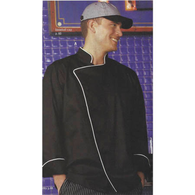 Bordeaux Chef Coat in Black with White Cording