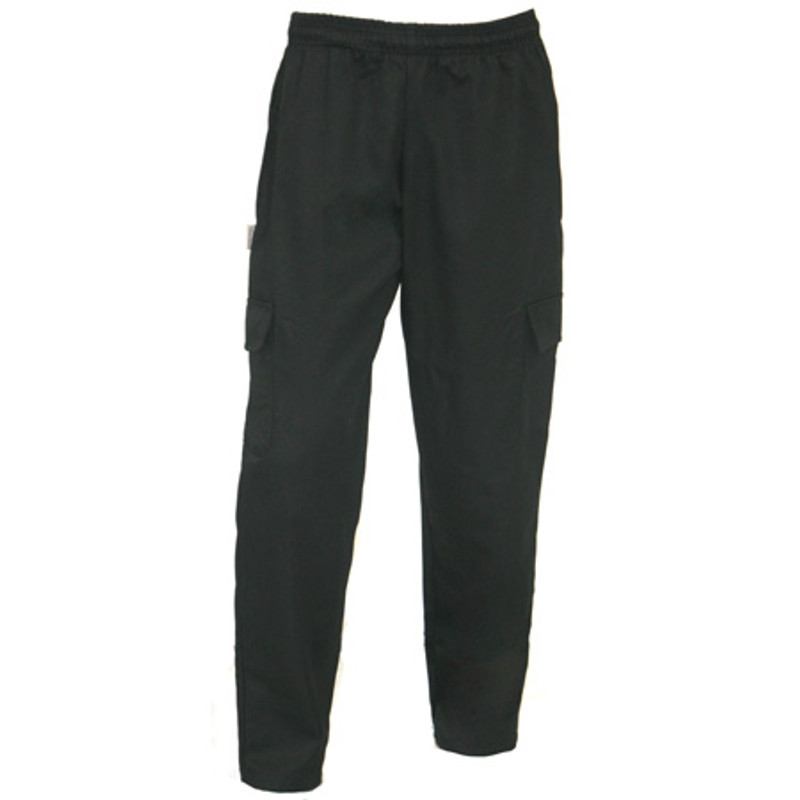 Cargo Chef Pants in 100% Black Cotton Twill