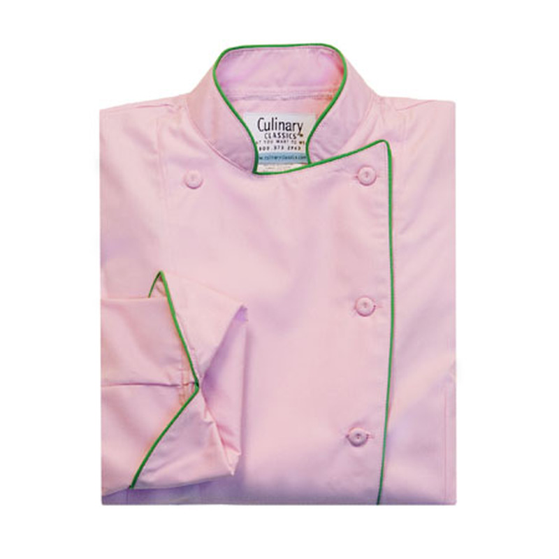 Women's Traditional Coat in Soft Pink with Green Cording