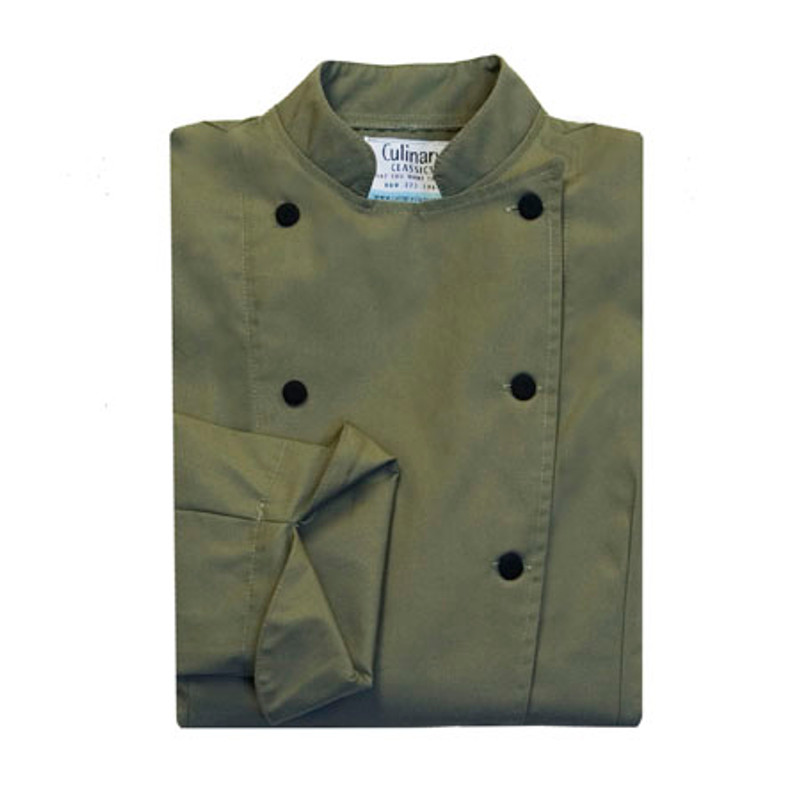 Women's Traditional Coat in Olive Green with Black Buttons