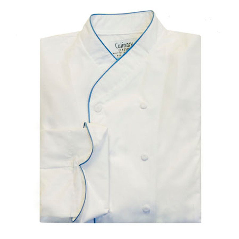 Imperial Chef Coat in White Poplin with Morning Glory Cording