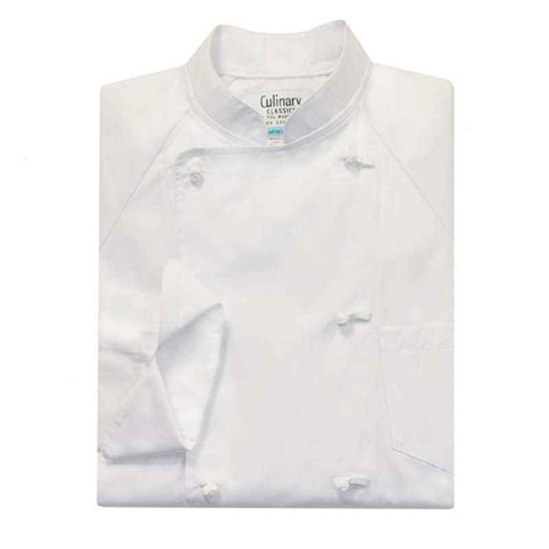 Raglan Chef Coat in White Egyptian Cotton with Pockets