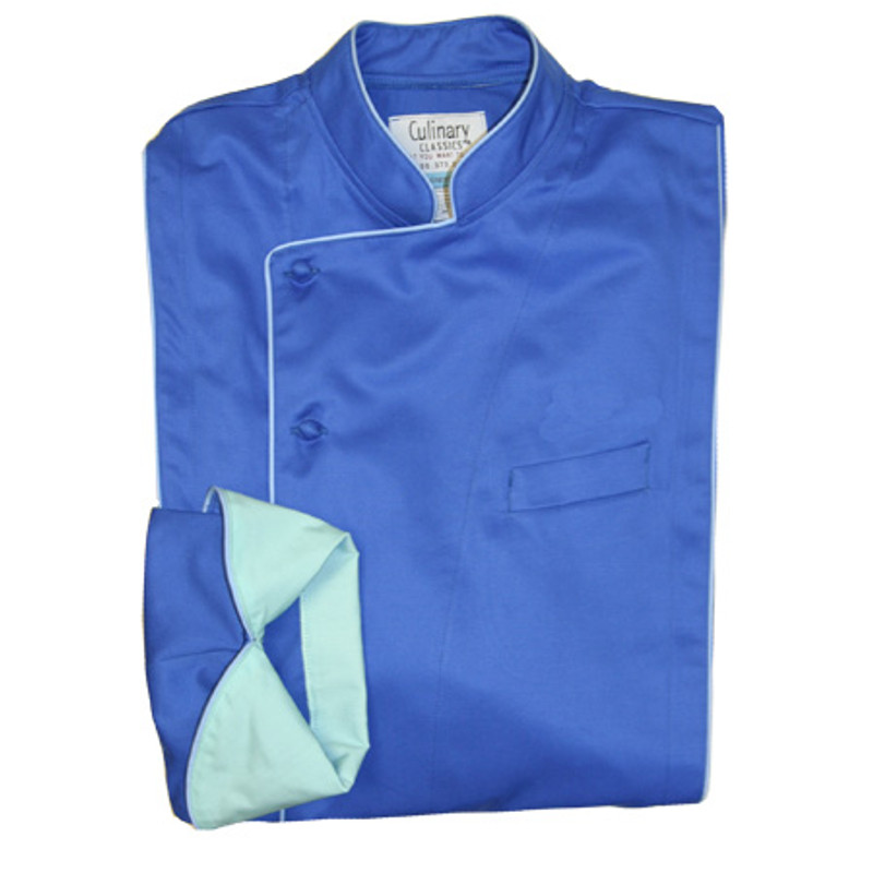 Milan Chef Coat in Marine Blue Organic Cotton with Light Blue Accents