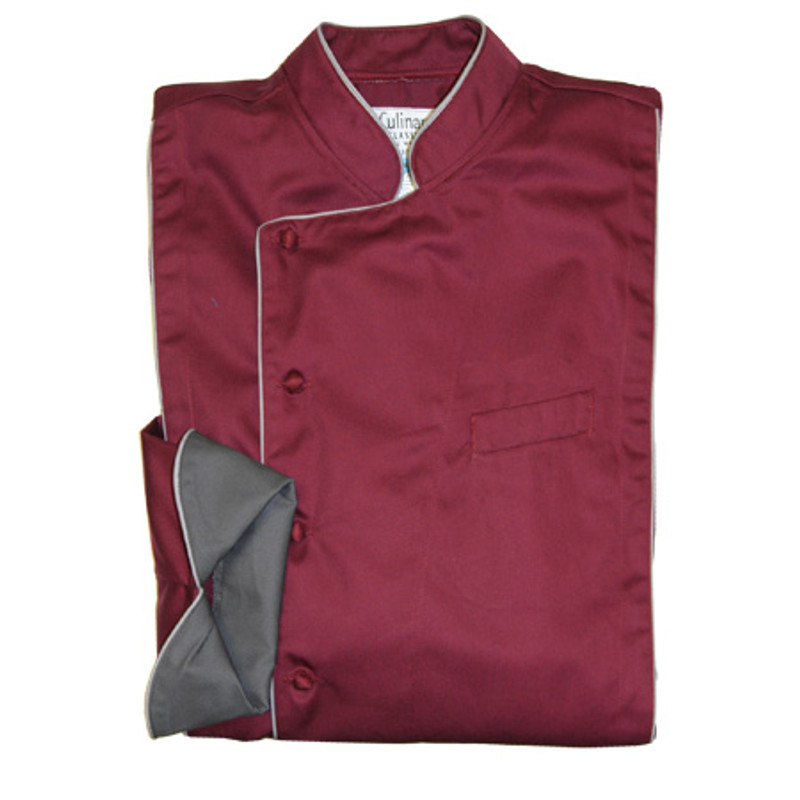 Milan Chef Coat in Plum Organic Cotton with Charcoal Accents